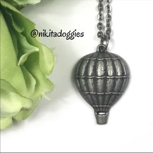 New! Pewter Hot Air Balloon Pendant & Necklace